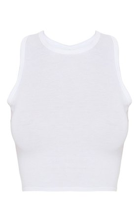 Prettylittlething White Knot Back Cropped Gym Top | PrettyLittleThing USA