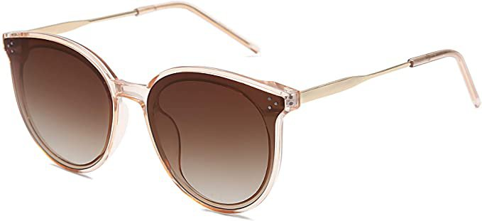 Amazon.com: SOJOS Retro Round Sunglasses for Women Oversized Mirrored Glasses DOLPHIN SJ2068 with Crystal Brown Frame/Gradient Brown Lens: Clothing