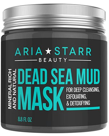 Amazon.com : Aria Starr Dead Sea Mud Mask For Face, Acne, Oily Skin & Blackheads - Best Facial Pore Minimizer, Reducer & Pores Cleanser Treatment - Natural For Younger Looking Skin : Beauty