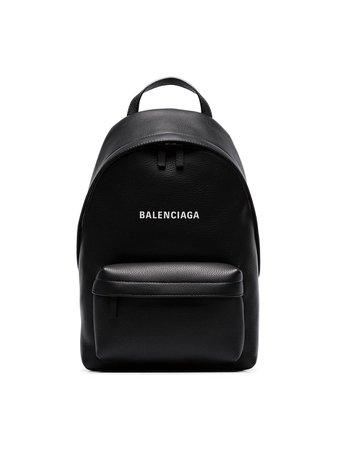 Black Balenciaga black everyday logo leather backpack 552379DLQ4N - Farfetch