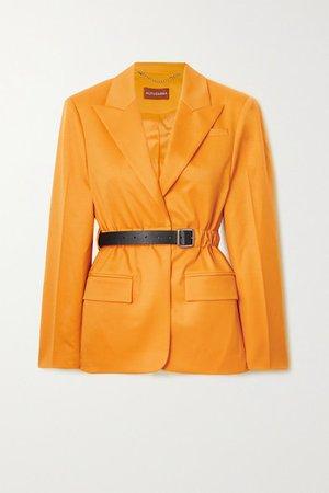 Lilium Belted Wool-blend Twill Blazer - Yellow