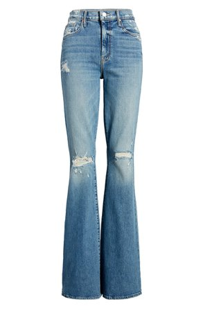 MOTHER The Super Cruiser Ripped High Waist Flare Jeans (On Holy Ground) | Nordstrom