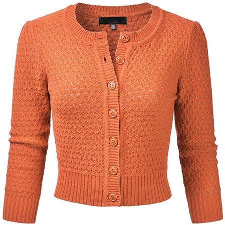 EIMIN Women's Crewneck Button Down 3/4 Sleeve Cropped Cardigan Sweater (S-3XL) at Amazon Women's Clothing store