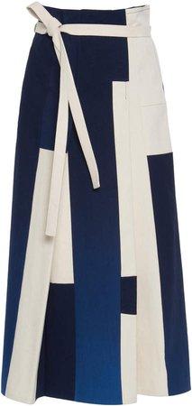 Jil Sander High-Rise Color-Block Cotton Skirt