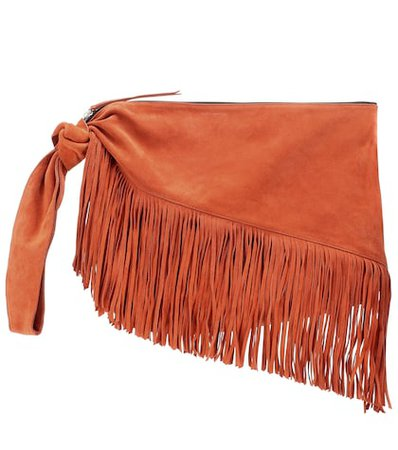 Farwo fringe-trimmed suede pouch