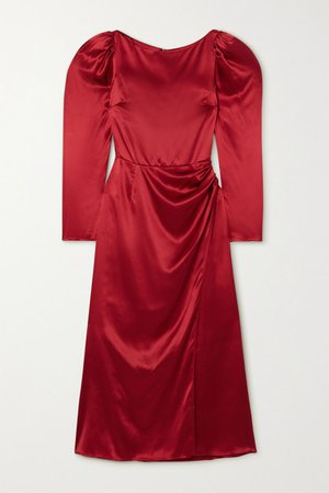 Cameron Gathered Silk-satin Midi Dress