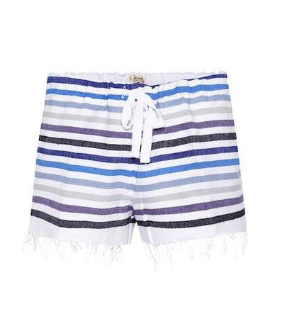 Striped cotton-blend shorts