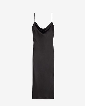 Satin Cowl Neck Midi Slip Dress | Express