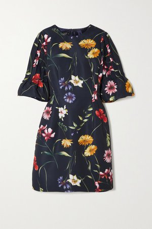 Pleated Floral-print Crepe Mini Dress - Navy
