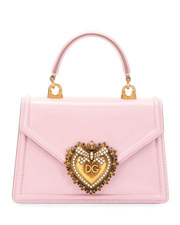 Dolce & Gabbana Devotion Mini Leather Top-Handle Bag with Sacred Heart   Neiman Marcus