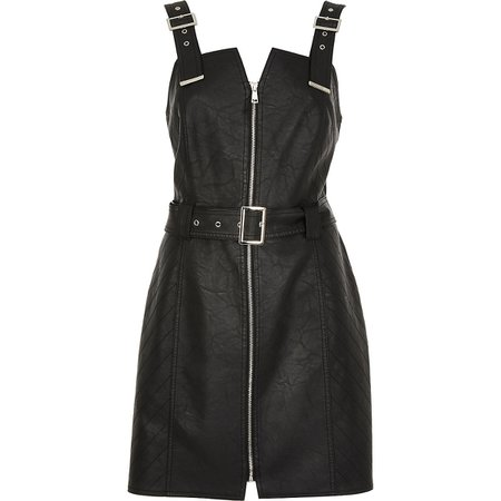 Black faux leather belted pinafore dress | River Island