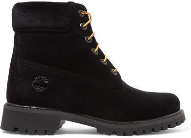 Timberland Logo-embossed Velvet Ankle Boots - Black