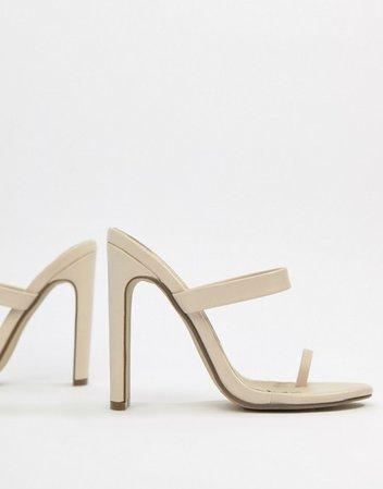 Missguided high heeled toe post mule sandal in beige   ASOS