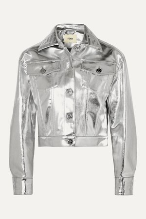 Silver Cropped metallic denim jacket | Fendi | NET-A-PORTER