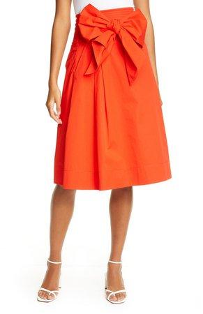 Cotton Wrap Midi Skirt