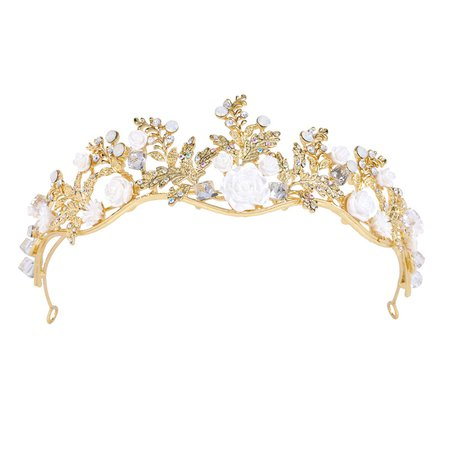 "FUMUD 2 inch Height Gold Plated Clear Rhinestone Solid Crystal Wedding Prom Porcelain Flower Tiaras Crown_Height 2-3""_Tiaras Crown_Fumud Jewelry"