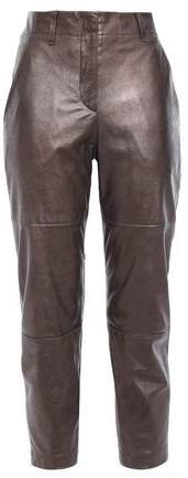 Cropped Metallic Glossed-leather Slim-leg Pants