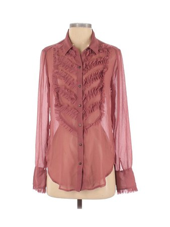 Free People 100% Polyester Maroon Pink Long Sleeve Blouse Size S - 63% off | thredUP