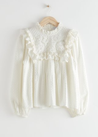 Embroidered Ruffle Blouse - White - Blouses - & Other Stories
