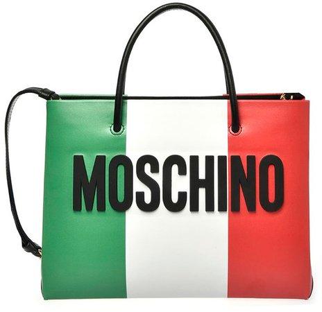 Italian Slogan Leather Tote
