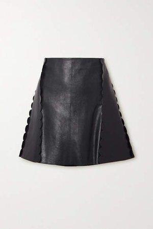 Scalloped Leather Mini Skirt - Navy