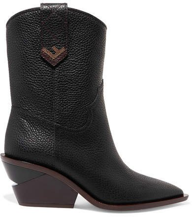 Textured-leather Boots - Black