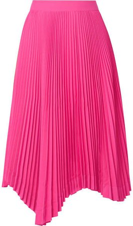 Asymmetric Plissé-crepe Midi Skirt - Fuchsia