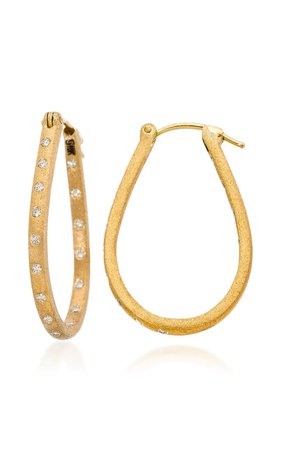 Dunes Diamond 18K Yellow Gold Hoop Earrings by Sethi Couture | Moda Operandi