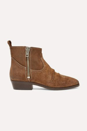 Viand Embroidered Suede Ankle Boots - Brown