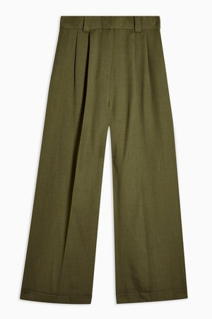Khaki Elasticated Back Wide Leg Trousers   Topshop
