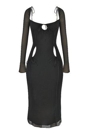 Clothing : Midi Dresses : 'Ophelia' Black Cutout Midi Dress