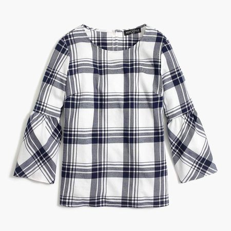 Flannel bell-sleeve top
