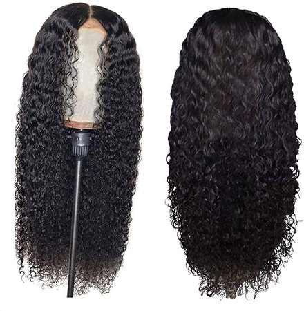 """CZYCO 24"""" Peruvian Curly Human Hair Wig, Adjustable Glueless None Lace Front Wig Brazilian African Wavelet Hair Peruvian Synthetic Wig (Black) at Amazon Women's Clothing store"""