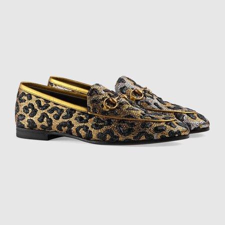 Gucci Jordaan leopard jacquard loafer