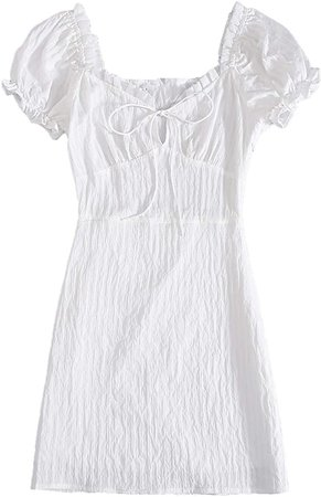 Floerns Women's Sweetheart Neck Puff Sleeve Ruch Frill Trim Tie Front Mini Dress White S at Amazon Women's Clothing store