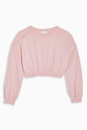 Pink Elastic Crop Sweatshirt | Topshop