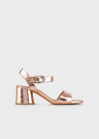 High-Heeled, Crackled Leather Sandals