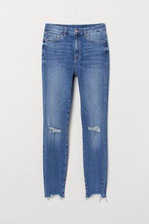 Embrace High Ankle Jeans - Denim blue/trashed - | H&M US