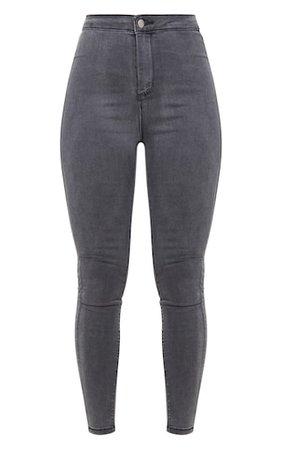 Prettylittlething Grey Disco Skinny Jeans | PrettyLittleThing