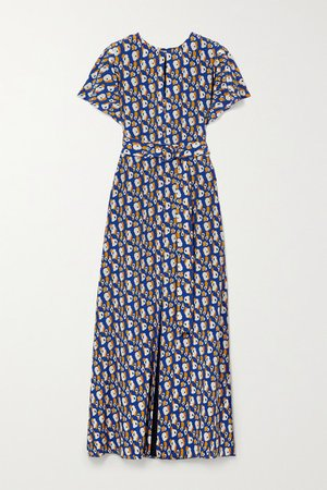 Belted Printed Silk-crepe Maxi Dress - Blue