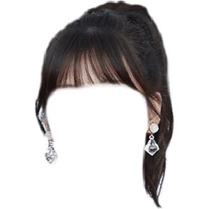 High Ponytail Bangs Black Hair PNG