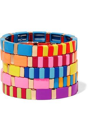 Roxanne Assoulin | Aloha set of five enamel bracelets | NET-A-PORTER.COM