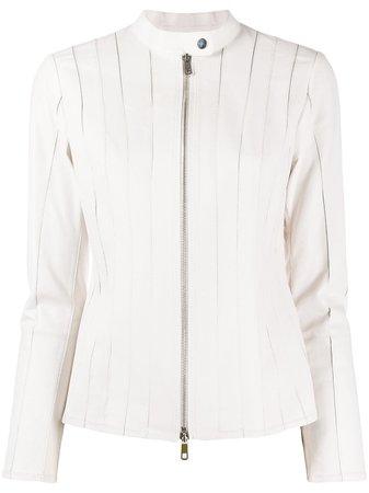 Desa 1972 Zipped Leather Jacket K9537LP White   Farfetch