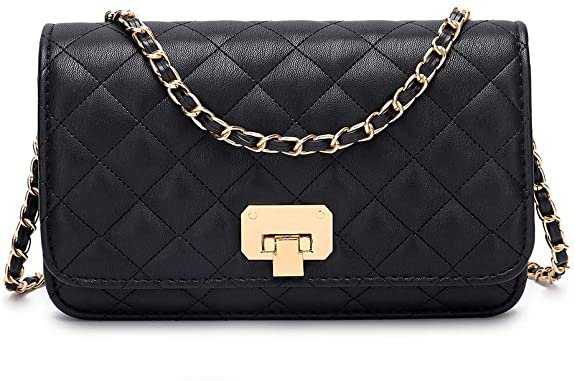 Women Black Quilted Purse Clutch Small Crossbody Shoulder Bag with Chain Strap Leather: Handbags: Amazon.com