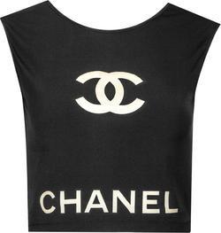 Chanel Spring 2001 Transparent PVC Logo Crop Top   EL CYCER