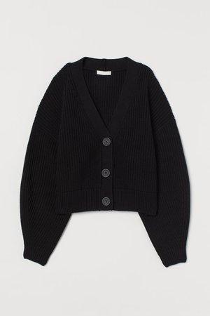 Ribbed Cardigan - Black - Ladies | H&M US