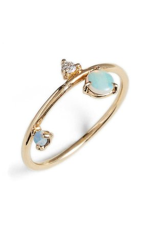 Wwake Counting Collection Three-Step Balloon Opal & Diamond Ring   Nordstrom