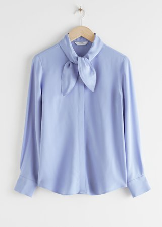 Satin Pussy Bow Blouse - Blue - Blouses - & Other Stories