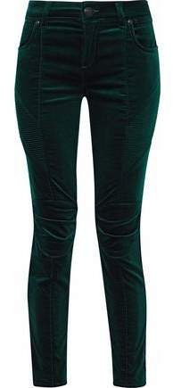 Cropped Stretch Cotton-velvet Skinny Pants