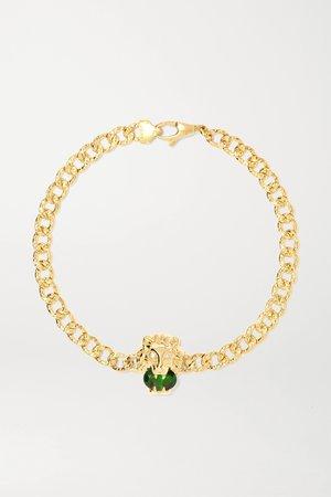 Gold 18-karat gold, chrome diopside and diamond bracelet | Gucci | NET-A-PORTER